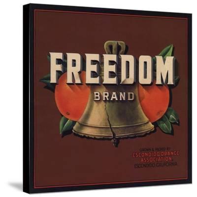 Freedom Brand - Escondido, California - Citrus Crate Label-Lantern Press-Stretched Canvas Print
