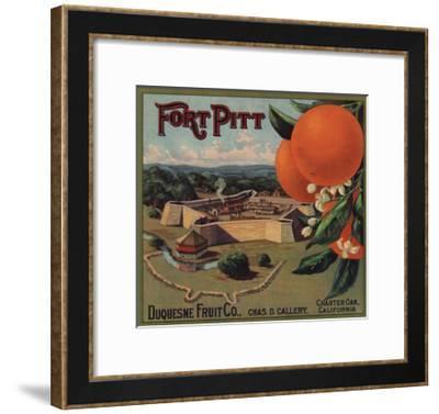 Fort Pitt Brand - Charter Oak, California - Citrus Crate Label-Lantern Press-Framed Art Print
