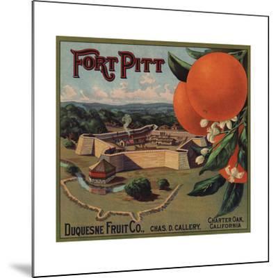 Fort Pitt Brand - Charter Oak, California - Citrus Crate Label-Lantern Press-Mounted Art Print