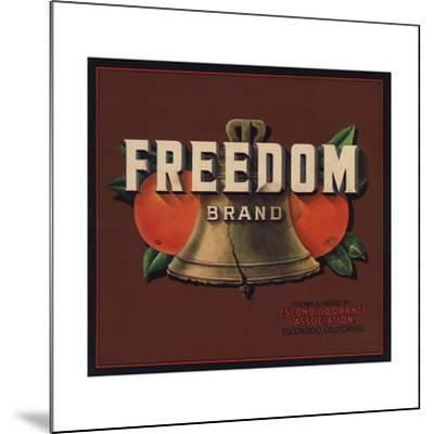Freedom Brand - Escondido, California - Citrus Crate Label-Lantern Press-Mounted Art Print