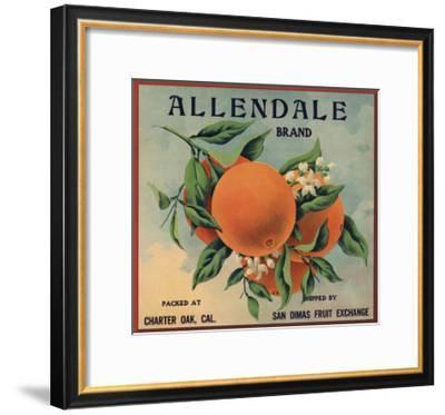 Allendale Brand - Charter Oak, California - Citrus Crate Label-Lantern Press-Framed Art Print