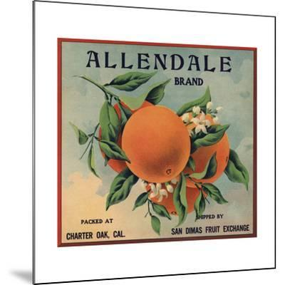 Allendale Brand - Charter Oak, California - Citrus Crate Label-Lantern Press-Mounted Art Print