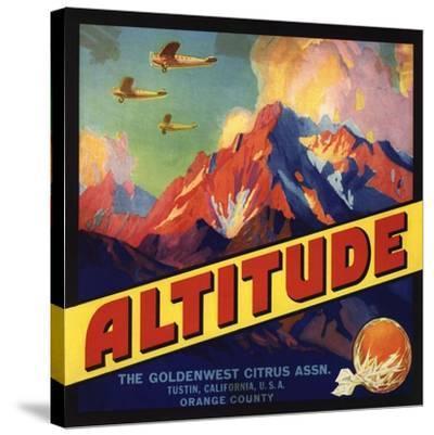 Altitude Brand - Tustin, California - Citrus Crate Label-Lantern Press-Stretched Canvas Print