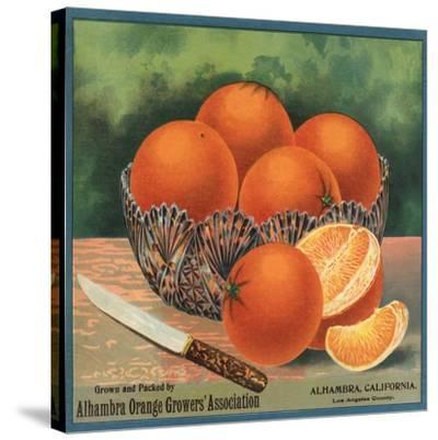 Oranges in Bowl - Alhambra, California - Citrus Crate Label-Lantern Press-Stretched Canvas Print