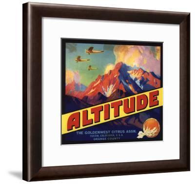 Altitude Brand - Tustin, California - Citrus Crate Label-Lantern Press-Framed Art Print