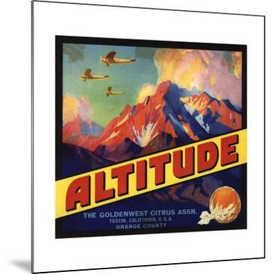 Altitude Brand - Tustin, California - Citrus Crate Label-Lantern Press-Mounted Art Print