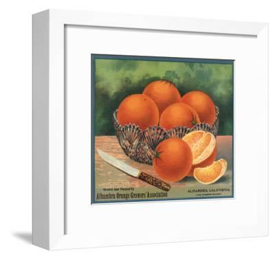 Oranges in Bowl - Alhambra, California - Citrus Crate Label-Lantern Press-Framed Art Print