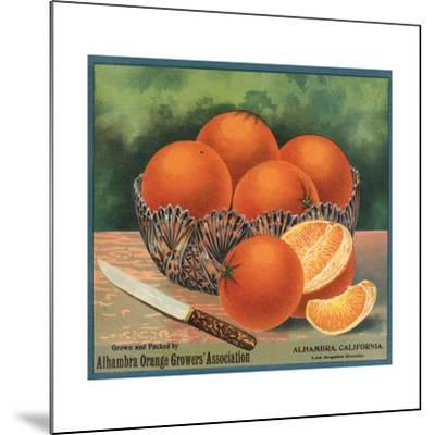Oranges in Bowl - Alhambra, California - Citrus Crate Label-Lantern Press-Mounted Art Print