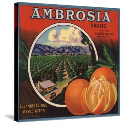 Ambrosia Brand - Upland, California - Citrus Crate Label-Lantern Press-Stretched Canvas Print