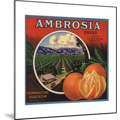 Ambrosia Brand - Upland, California - Citrus Crate Label-Lantern Press-Mounted Art Print