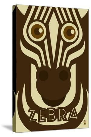 Zoo Faces - Zebra-Lantern Press-Stretched Canvas Print