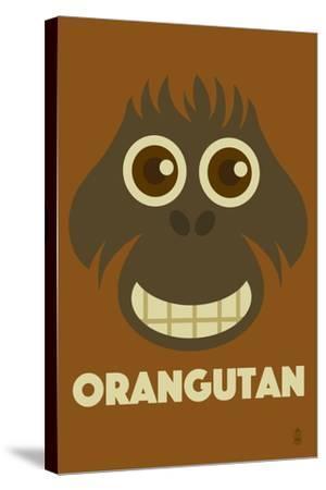 Zoo Faces - Orangutan-Lantern Press-Stretched Canvas Print