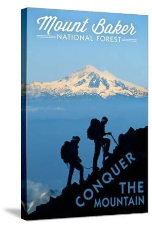 Mount Baker National Forest, Washington - Conquer the Mountain-Lantern Press-Stretched Canvas Print