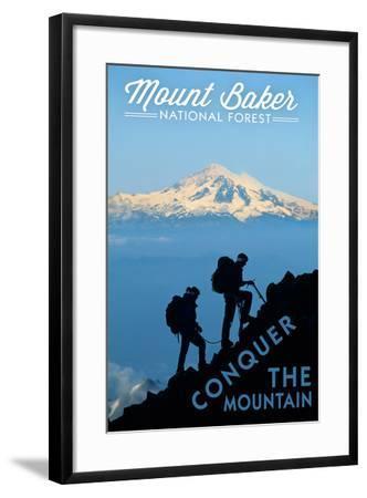 Mount Baker National Forest, Washington - Conquer the Mountain-Lantern Press-Framed Art Print