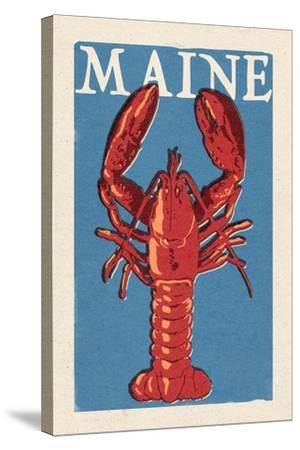 Maine - Lobster Woodblock-Lantern Press-Stretched Canvas Print