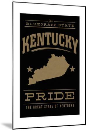 Kentucky State Pride - Gold on Black-Lantern Press-Mounted Art Print