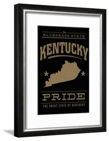 Kentucky State Pride - Gold on Black-Lantern Press-Framed Art Print