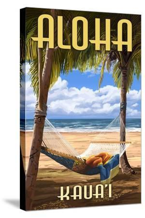 Kauai, Hawaii - Hammock Scene-Lantern Press-Stretched Canvas Print