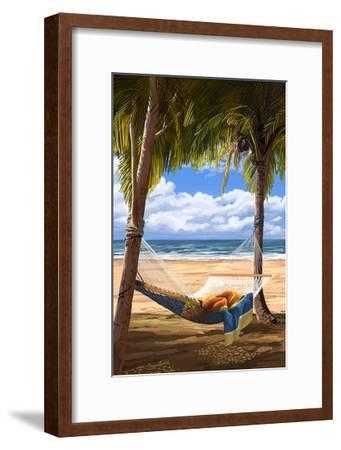 Hammock and Palms-Lantern Press-Framed Art Print