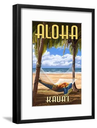 Kauai, Hawaii - Hammock Scene-Lantern Press-Framed Art Print