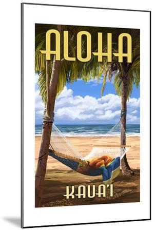 Kauai, Hawaii - Hammock Scene-Lantern Press-Mounted Art Print