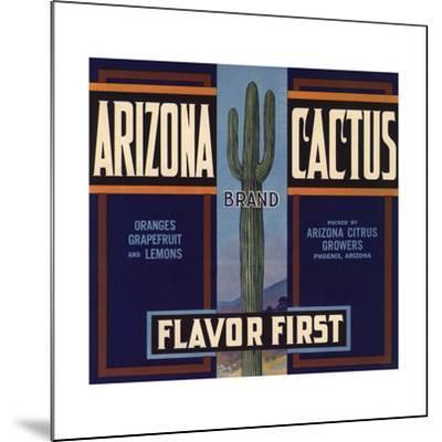 Arizona Cactus Brand - Phoenix, Arizona - Citrus Crate Label-Lantern Press-Mounted Art Print