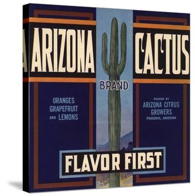 Arizona Cactus Brand - Phoenix, Arizona - Citrus Crate Label-Lantern Press-Stretched Canvas Print