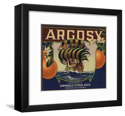 Argosy Brand - Irwindale, California - Citrus Crate Label-Lantern Press-Framed Art Print
