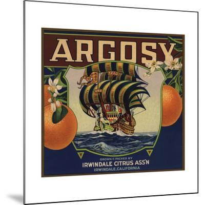 Argosy Brand - Irwindale, California - Citrus Crate Label-Lantern Press-Mounted Art Print