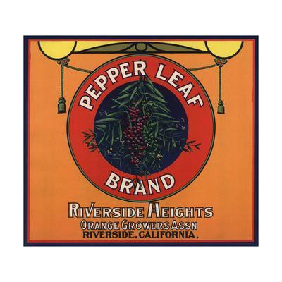 Pepper Leaf Brand - Riverside, California - Citrus Crate Label-Lantern Press-Framed Art Print