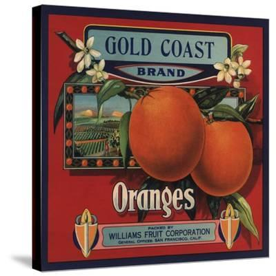 Gold Coast Brand - San Francisco, California - Citrus Crate Label-Lantern Press-Stretched Canvas Print