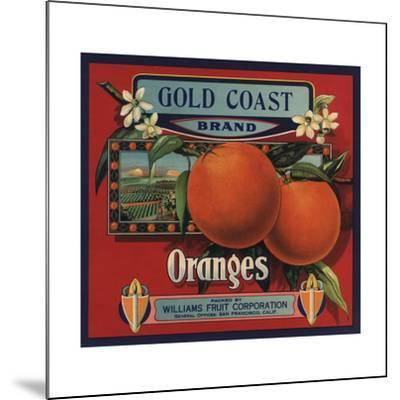 Gold Coast Brand - San Francisco, California - Citrus Crate Label-Lantern Press-Mounted Art Print