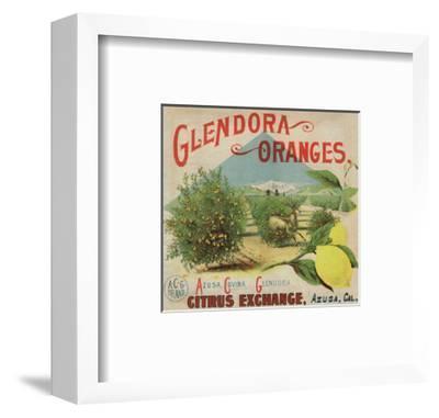 Glendora Oranges Brand - Azusa, California - Citrus Crate Label-Lantern Press-Framed Art Print
