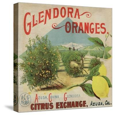 Glendora Oranges Brand - Azusa, California - Citrus Crate Label-Lantern Press-Stretched Canvas Print