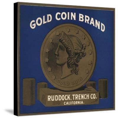 Gold Coin Brand - California - Citrus Crate Label-Lantern Press-Stretched Canvas Print