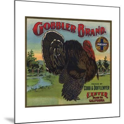 Gobbler Brand - Exeter, California - Citrus Crate Label-Lantern Press-Mounted Art Print