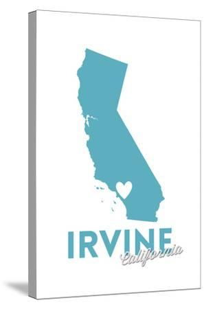 Irvine, California - State Outline and Heart-Lantern Press-Stretched Canvas Print