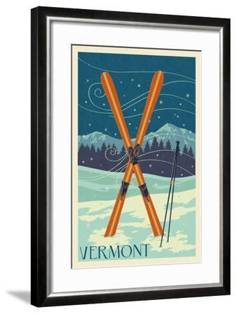 Vermont - Crossed Skis - Letterpress-Lantern Press-Framed Art Print