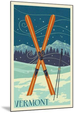 Vermont - Crossed Skis - Letterpress-Lantern Press-Mounted Art Print