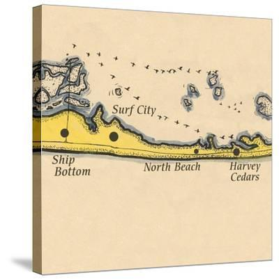 Long Beach Island, New Jersey - Vintage Map (square) 3 of 4-Lantern Press-Stretched Canvas Print
