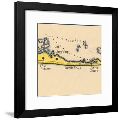Long Beach Island, New Jersey - Vintage Map (square) 3 of 4-Lantern Press-Framed Art Print