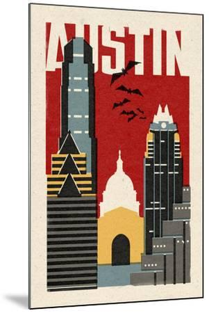 Austin, Texas - Woodblock-Lantern Press-Mounted Art Print