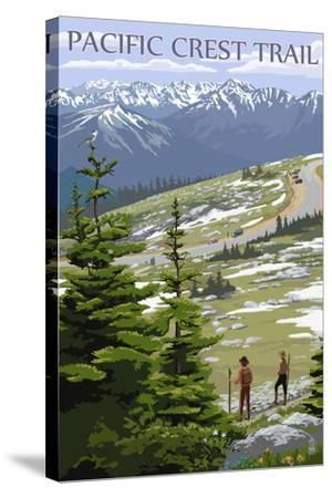 Pacific Crest Trail and Hikers-Lantern Press-Stretched Canvas Print