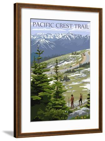 Pacific Crest Trail and Hikers-Lantern Press-Framed Art Print