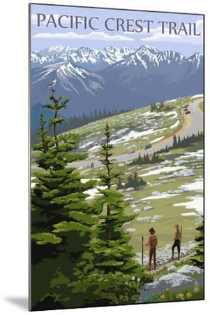 Pacific Crest Trail and Hikers-Lantern Press-Mounted Art Print