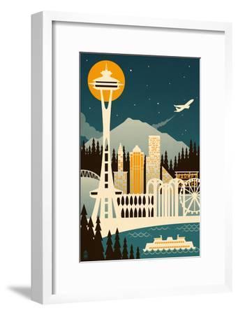 Seattle, Washington - Retro Skyline (no text)-Lantern Press-Framed Art Print