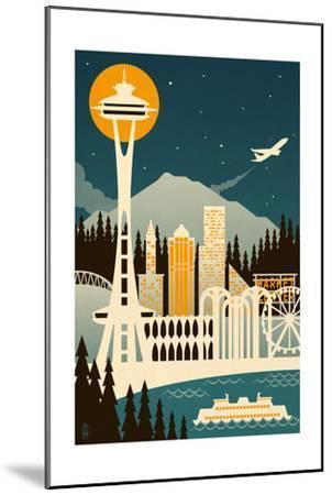 Seattle, Washington - Retro Skyline (no text)-Lantern Press-Mounted Art Print