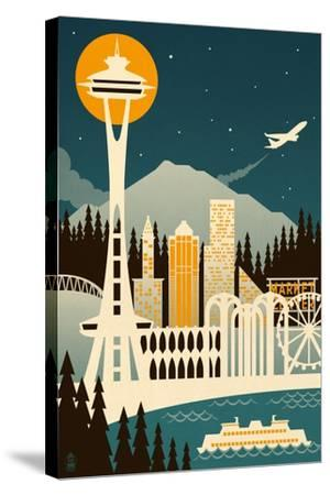 Seattle, Washington - Retro Skyline (no text)-Lantern Press-Stretched Canvas Print