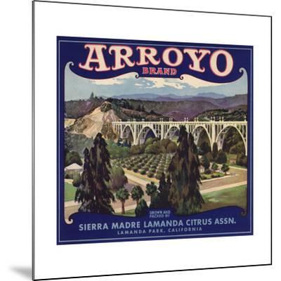 Arroyo Brand - Lamanda Park, California - Citrus Crate Label-Lantern Press-Mounted Art Print
