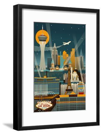Las Vegas, Nevada - Retro Skyline (no text)-Lantern Press-Framed Art Print